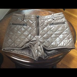 3.1 Phillip Lim Quilted Leather Shorts Brown 2